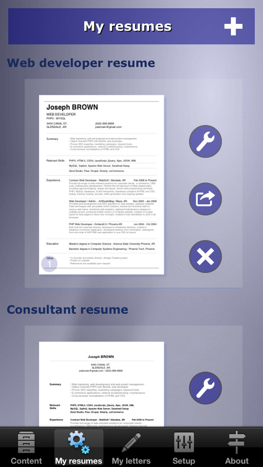 how to make your resume cv with your iphone ipad or android device