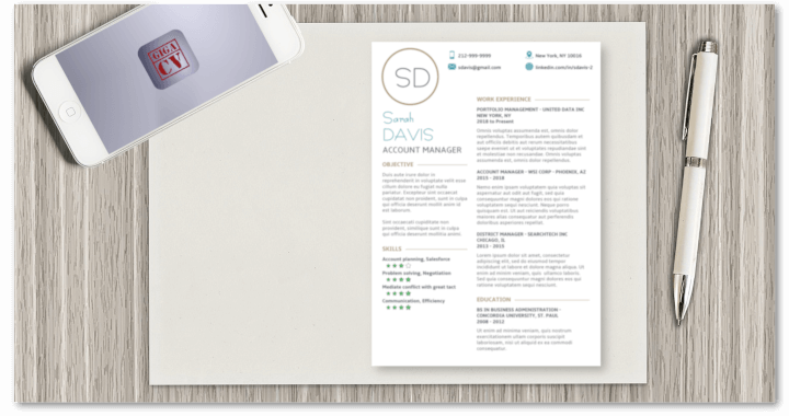 Example of Resume template available with the giga-cv app